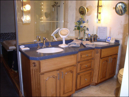 Custom Milwaukee Bathroom Remodeling Cabinet with Corrian Top Installation
